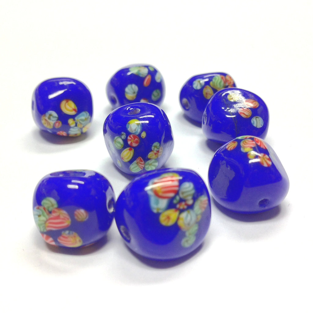 12MM Navy Baroque Round Glass Tombo Bead (24 pieces)