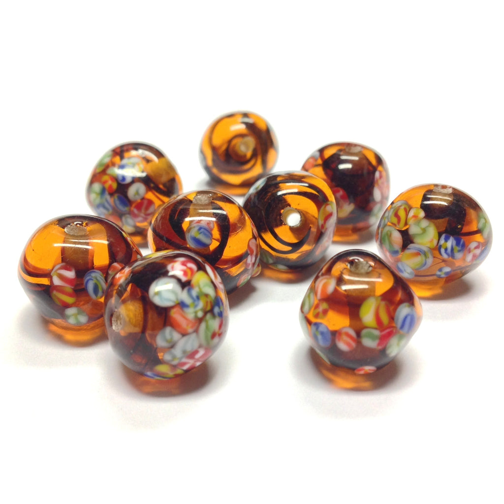 12MM Tortoise Glass Baroque Glass Tombo Bead (24 pieces)