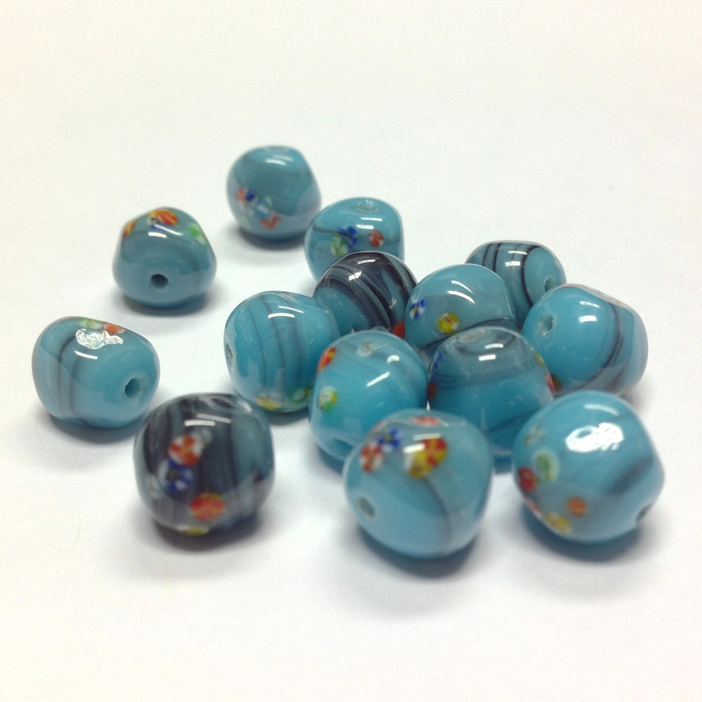 9MM Turquoise Matrix Baroque Round Glass Tombo Bead (36 pieces)