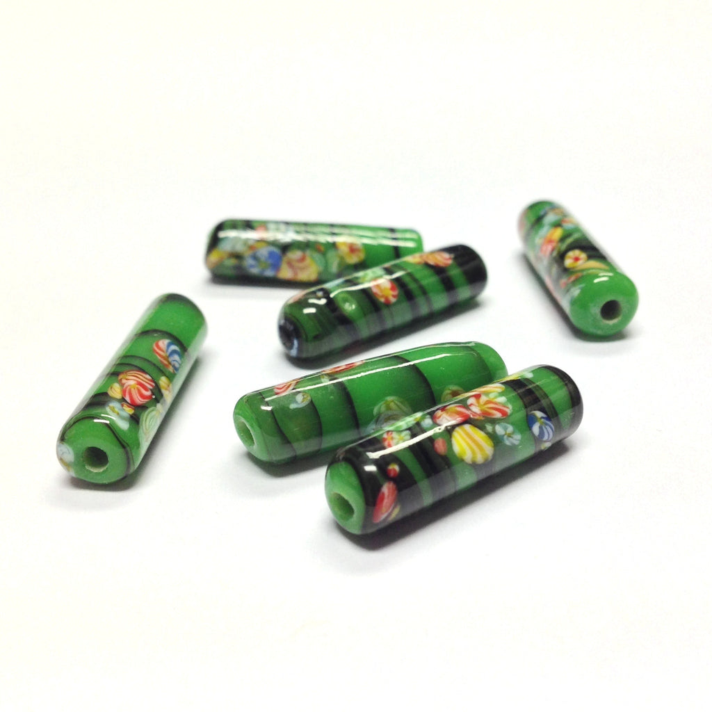 21X6MM Green Matrix Tombo Glass Tube Bead (36 pieces)