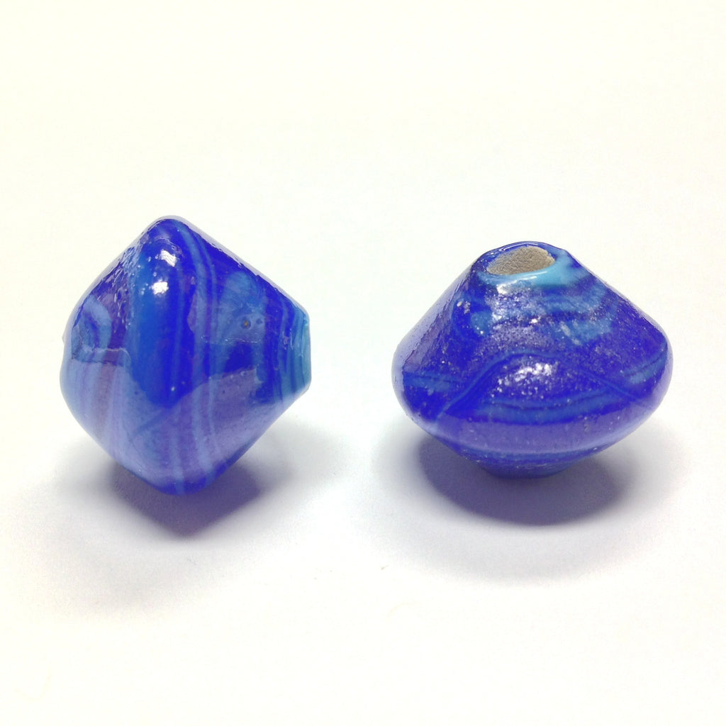 18X20MM Blue Ceramic Bicone Bead 4MM Hole (24 pieces)