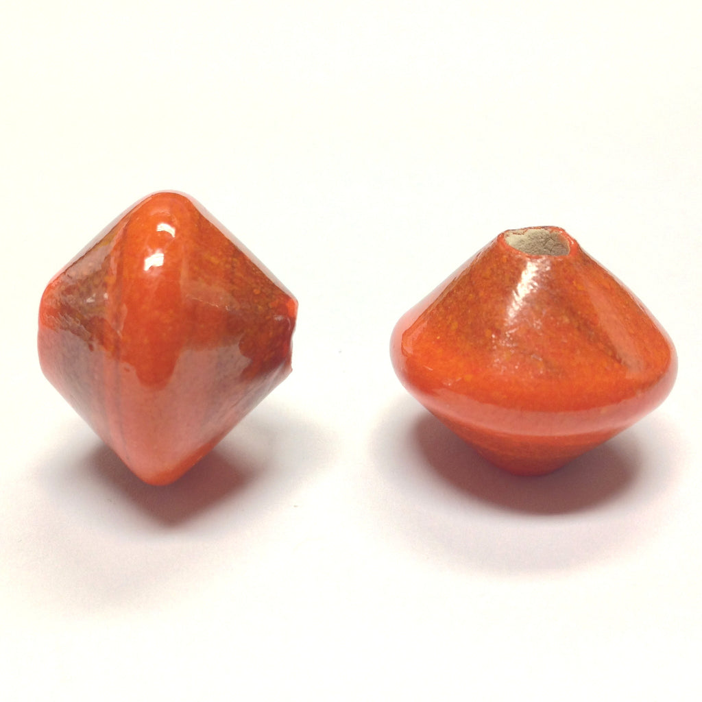 18X20MM Orange Ceramic Bicone Bead 4MM Hole (24 pieces)