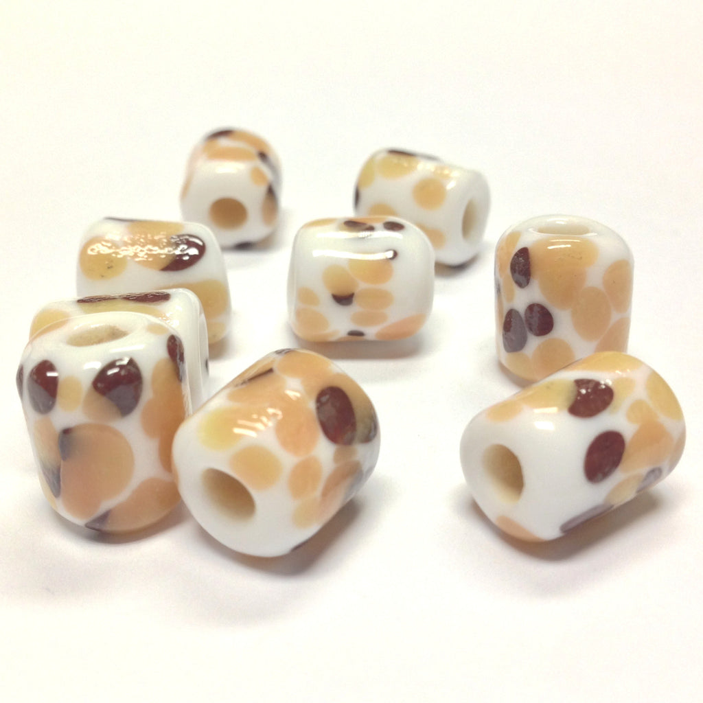 14X11MM White Glass w/Brown Spots Tube Bead 4MM Hole (36 pieces)