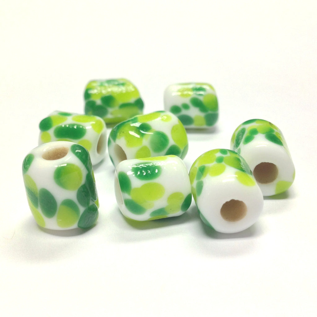 14X11MM White Glass w/Green Spots Tube Bead 4MM Hole (36 pieces)