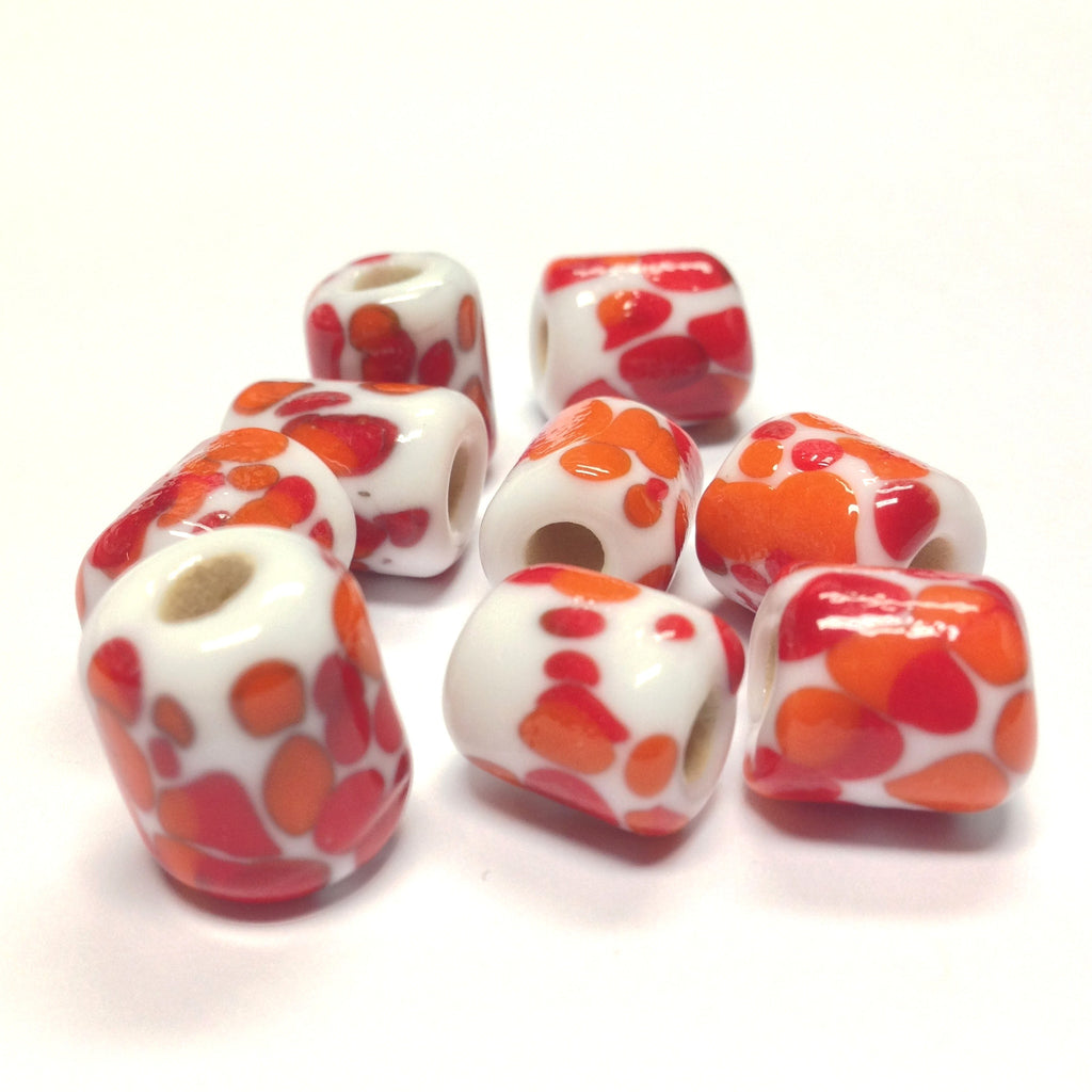 14X11MM White Glass w/Orange Spots Tube Bead 4MM Hole (36 pieces)
