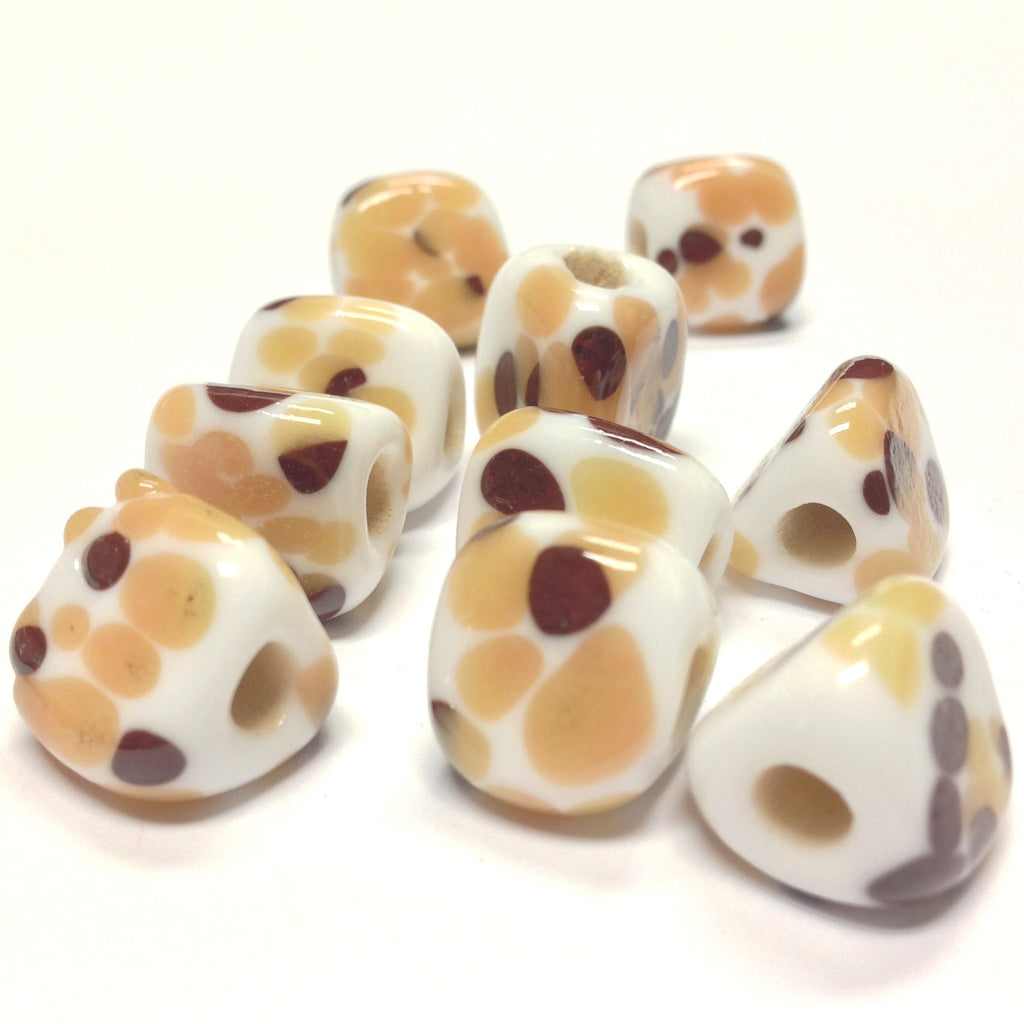 13MM White Glass w/Brown Spots 3-Sided Bead 4MM Hole (36 pieces)