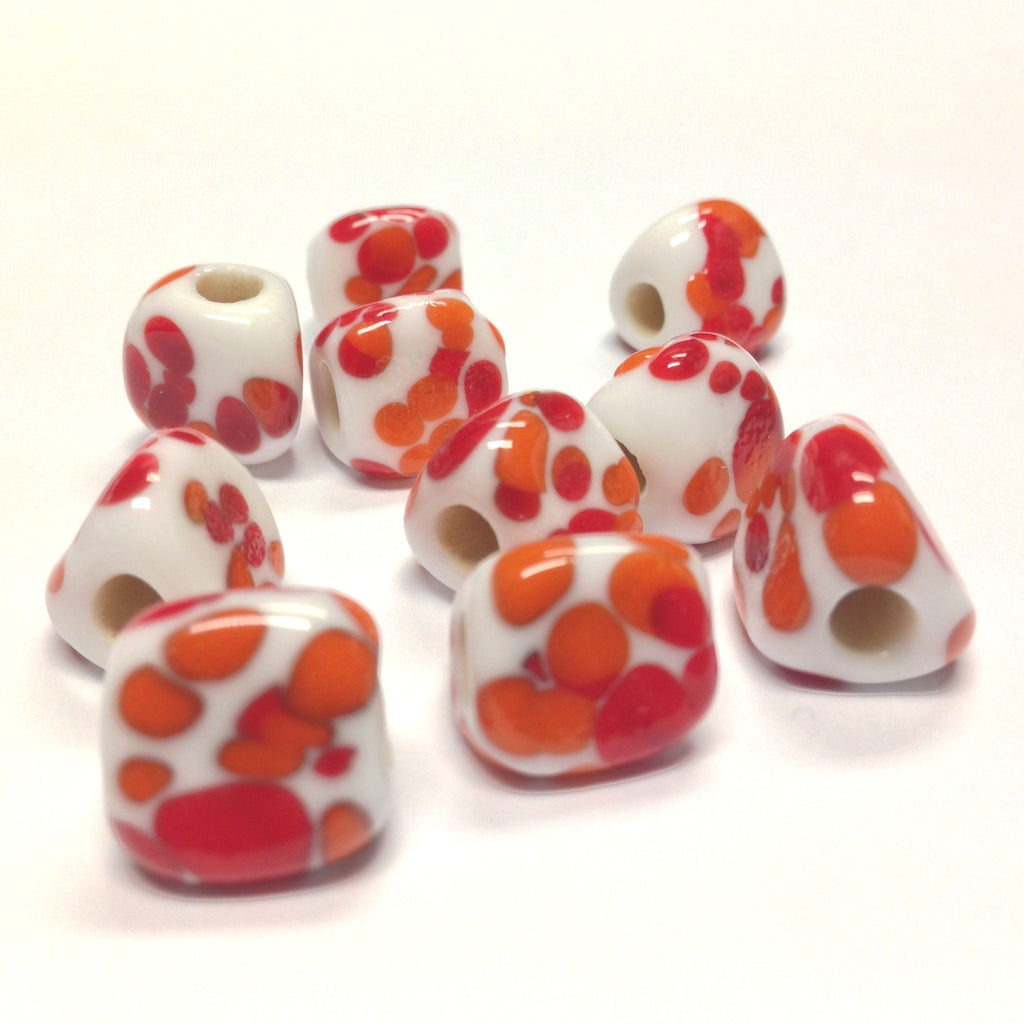 13MM White Glass w/Orange Spots 3-Sided Bead 4MM Hole (36 pieces)