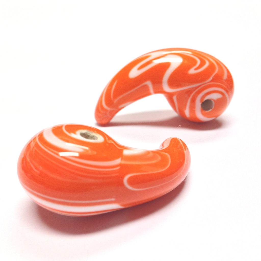 46X18MM Orange/White Ceramic Comma Drop (6 pieces)
