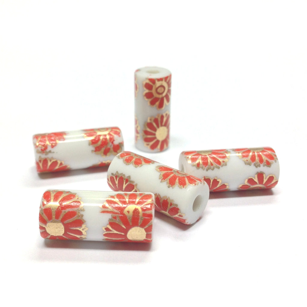 18X8MM White Ceramic Tube Bead w/Coral Flower Decal (36 pieces)