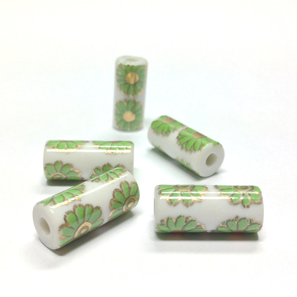 18X8MM White Ceramic Tube Bead w/Green Flower Decal (36 pieces)