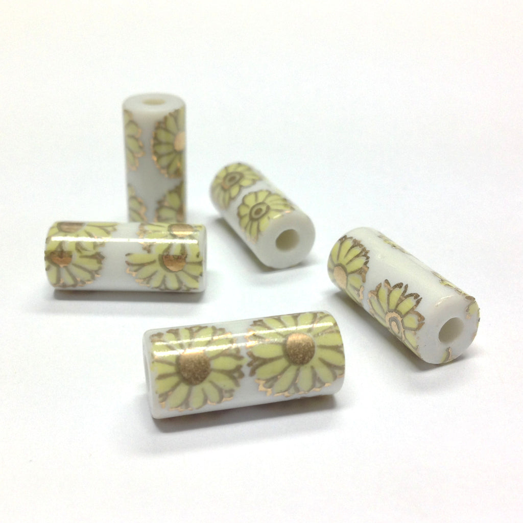 18X8MM White Ceramic Tube Bead w/Yellow Flower Decal (36 pieces)