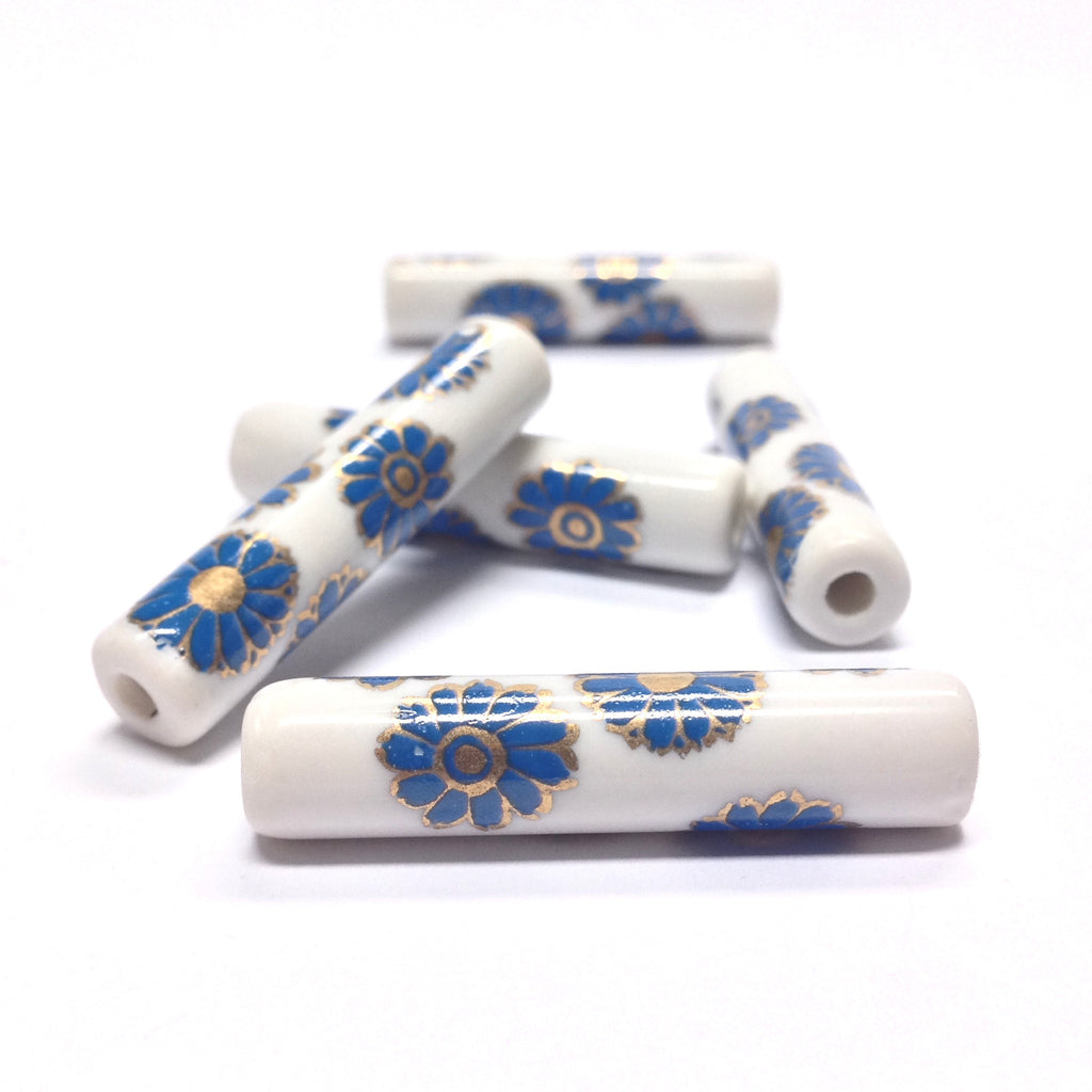36X8MM White Ceramic Tube Bead w/Blue Flower Decal (36 pieces)