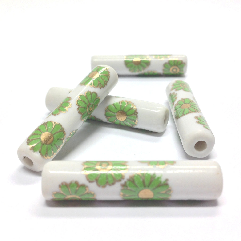 36X8MM White Ceramic Tube Bead w/Green Flower Decal (36 pieces)