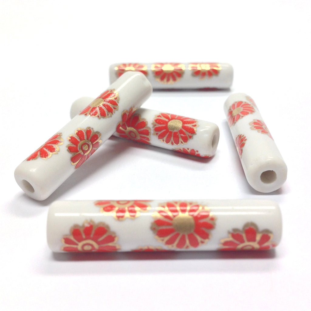 36X8MM White Ceramic Tube Bead w/Red Flower Decal (36 pieces)