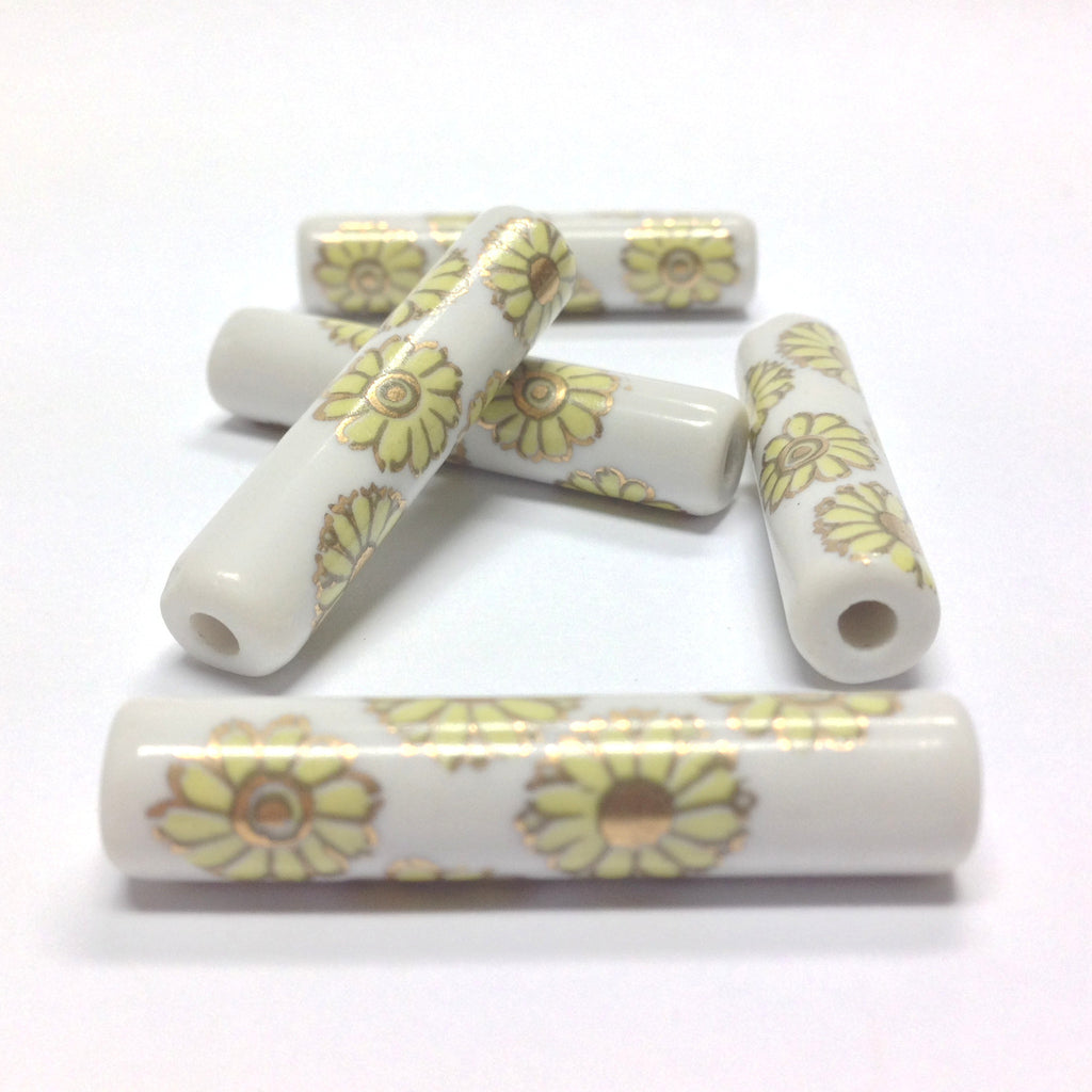 36X8MM White Ceramic Tube Bead w/Yellow Flower Decal (36 pieces)