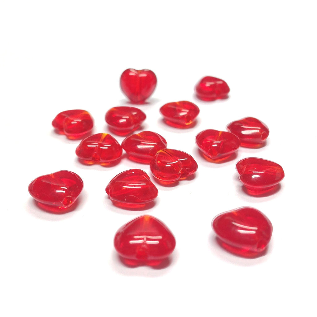 8MM Ruby Glass Heart Bead (144 pieces)