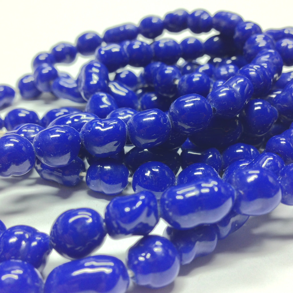 "8MM Navy Blue Baroque Glass Beads 30"" String (1 pieces)"