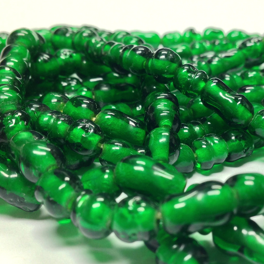 "6MM Emerald Green Baroque Glass Beads 30"" String (1 pieces)"