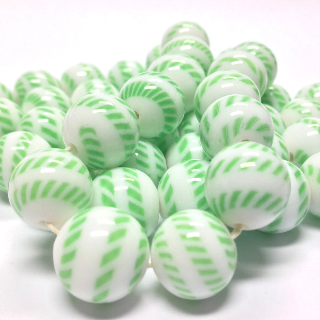 10MM Green/White Glass Bead (72 pieces)