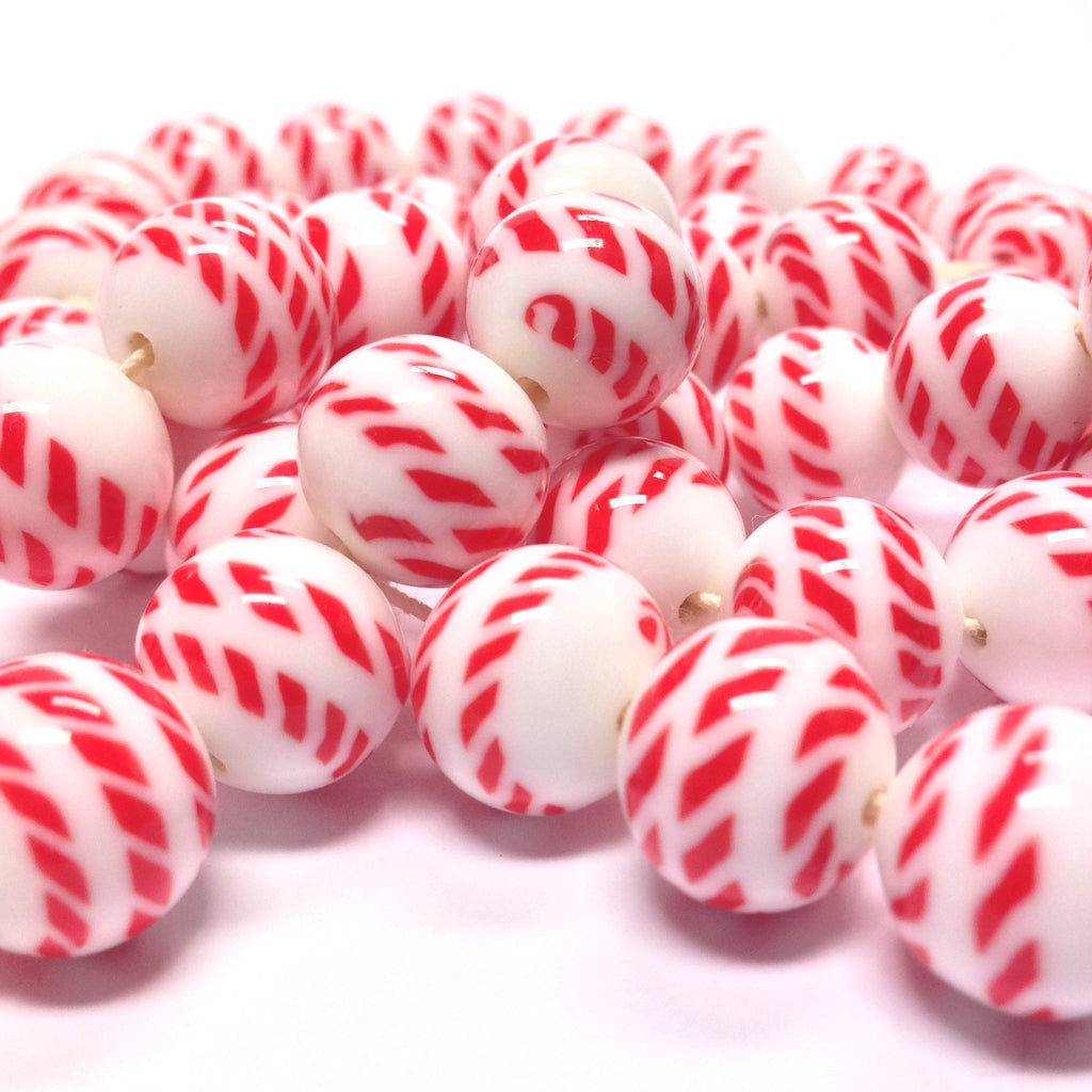 10MM Red/White Glass Bead (72 pieces)