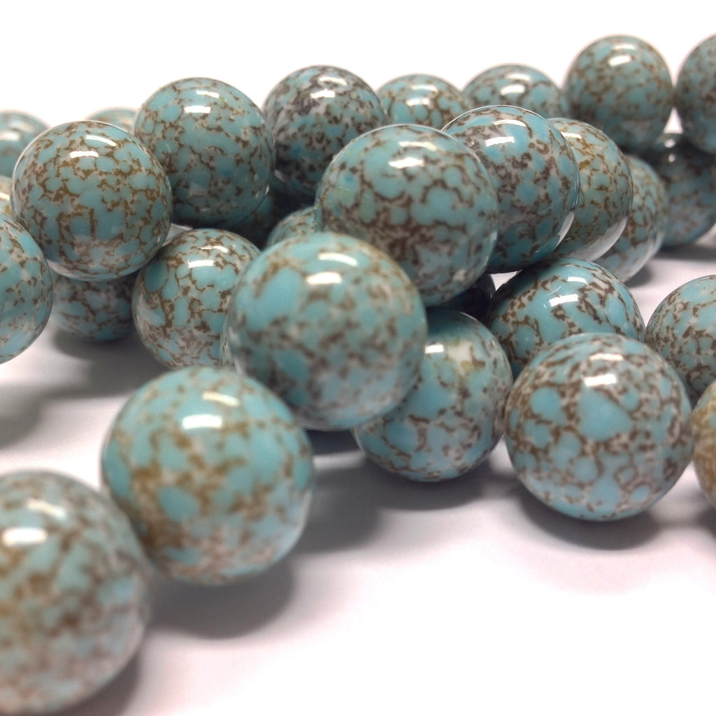 12MM Turquoise Matrix Glass Bead (24 pieces)