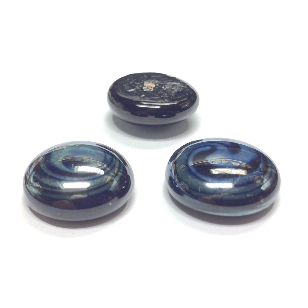 28MM Black/Hematite Glass Cab (6 pieces)