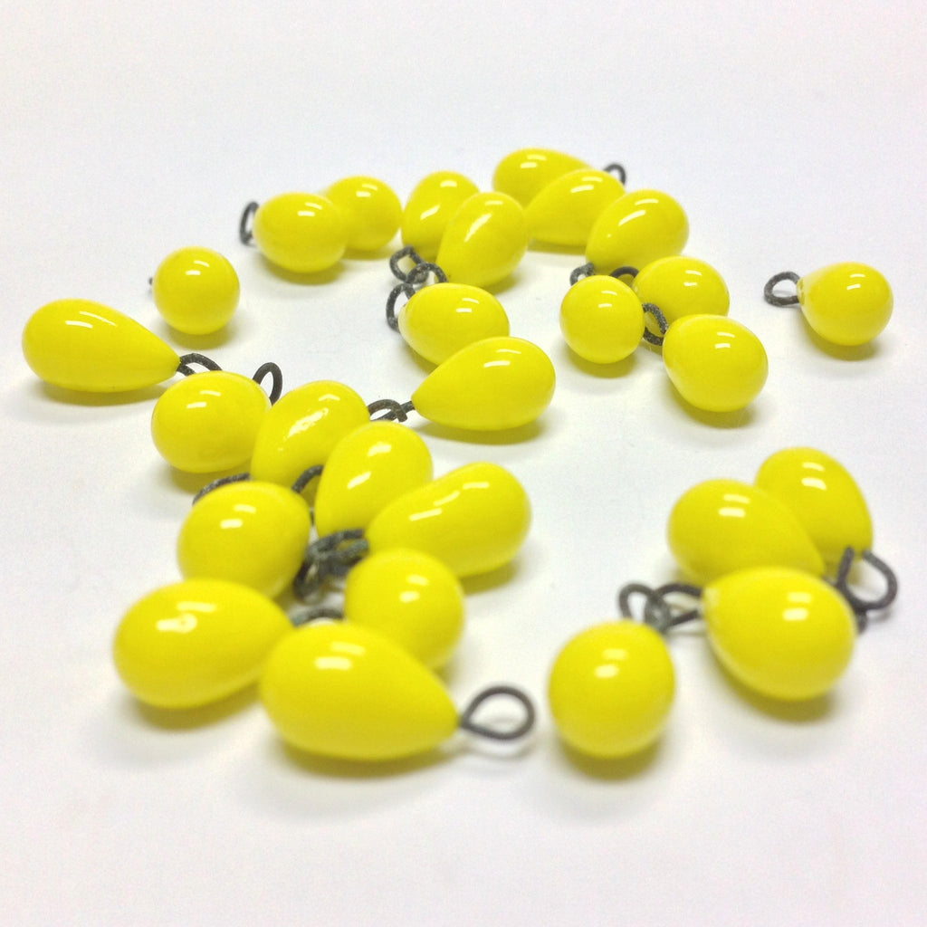 6X9MM Yellow Teardrop w/Loop (36 pieces)