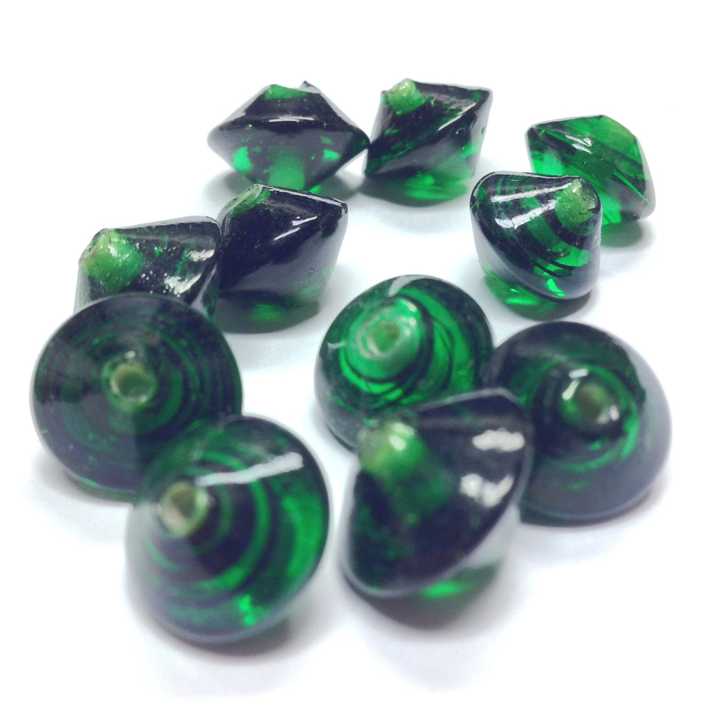 12X10MM Emerald Glass Pyramid Bead (72 pieces)