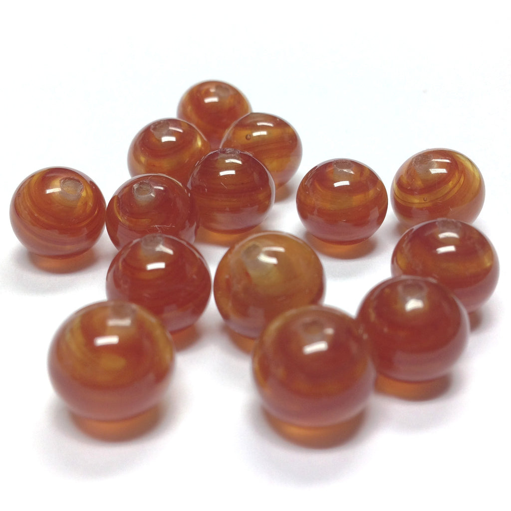 10MM Amber Topaz Round Glass Bead (72 pieces)