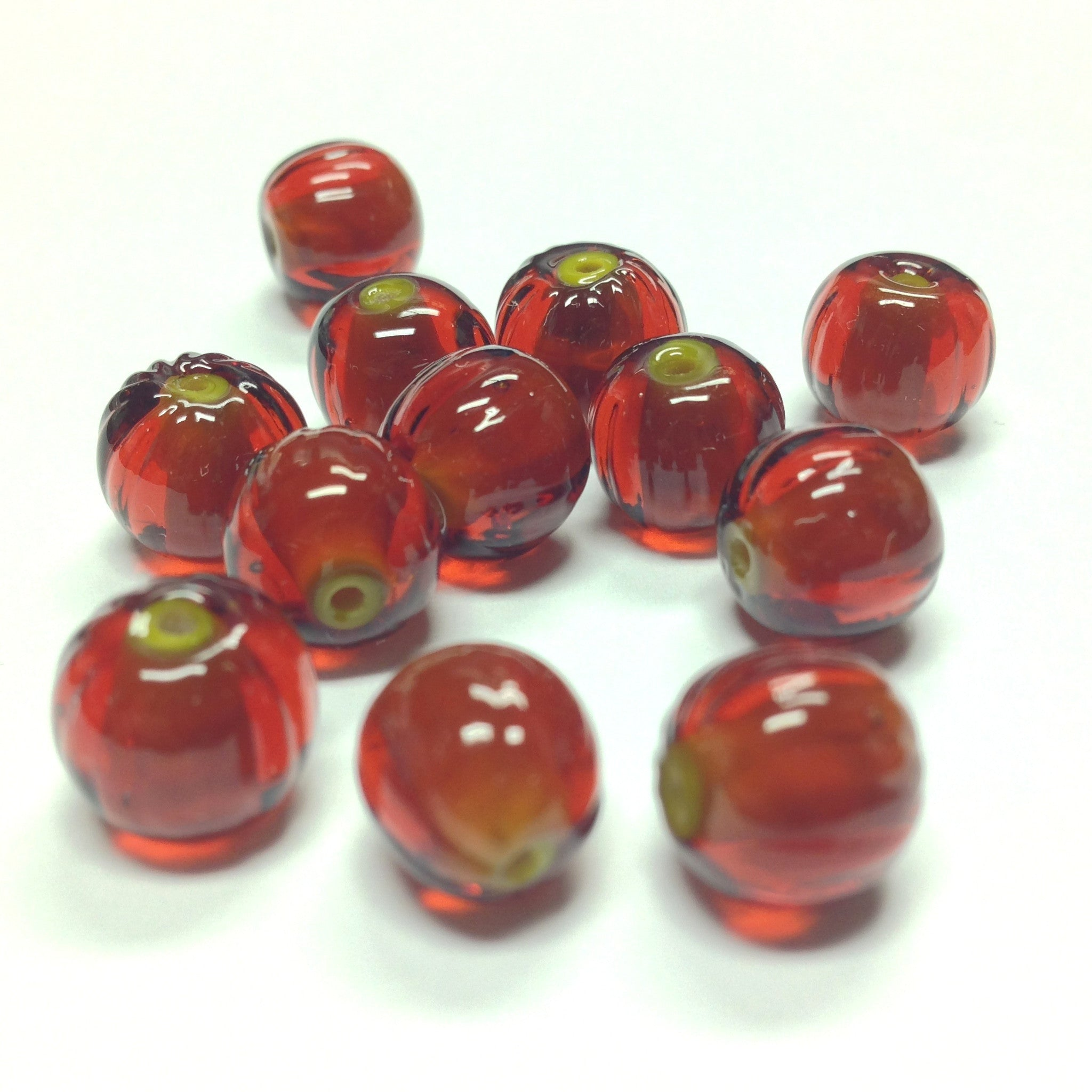 10MM Dark Topaz Ribbed Glass Bead (72 pieces)