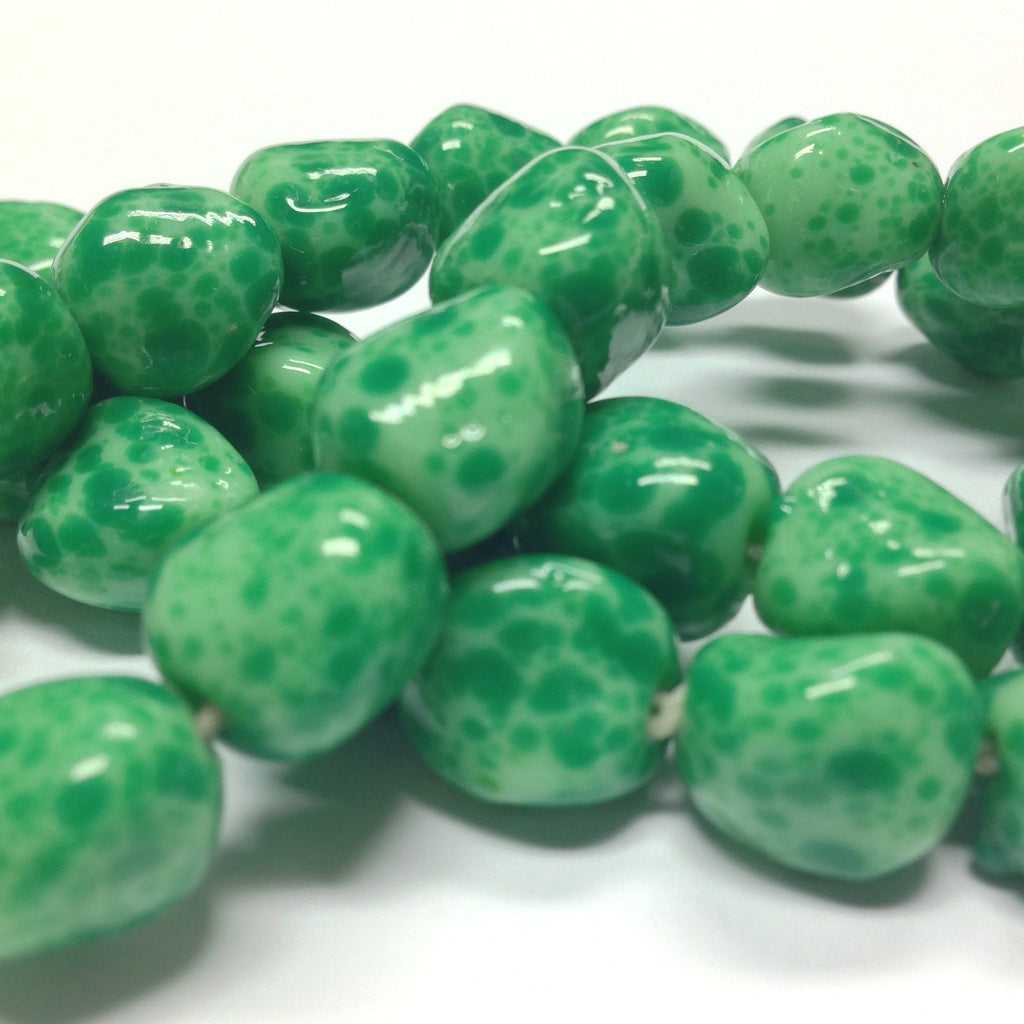 11MM Green Spotted Matrix Baroque Glass Beads (36 pieces)