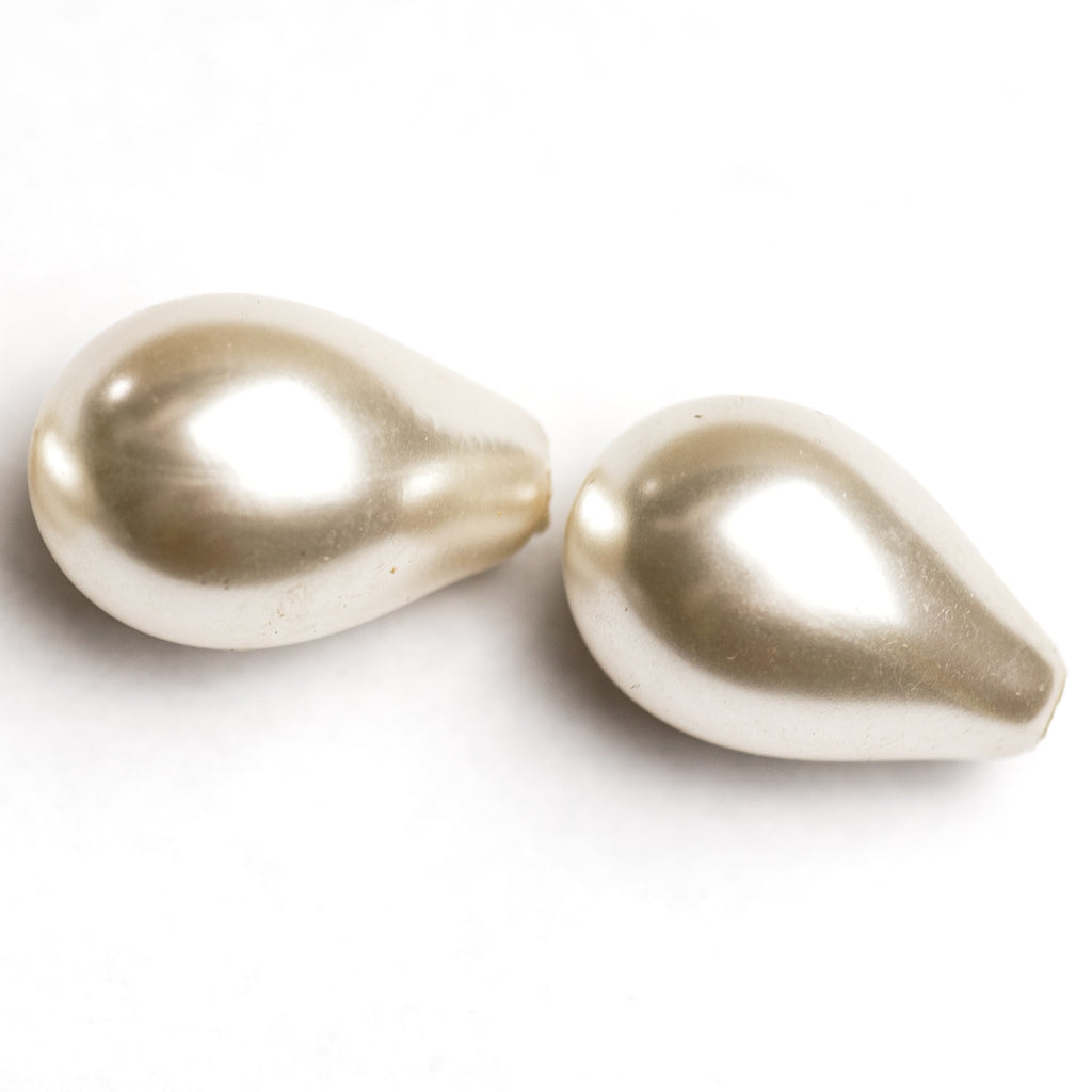 24X15MM Hollow Glass Pearl Pear 1-Hole (12 pieces)