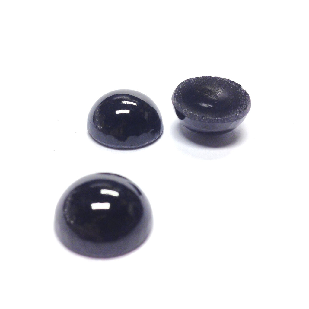13MM Black Glass Ear Button (12 pieces)