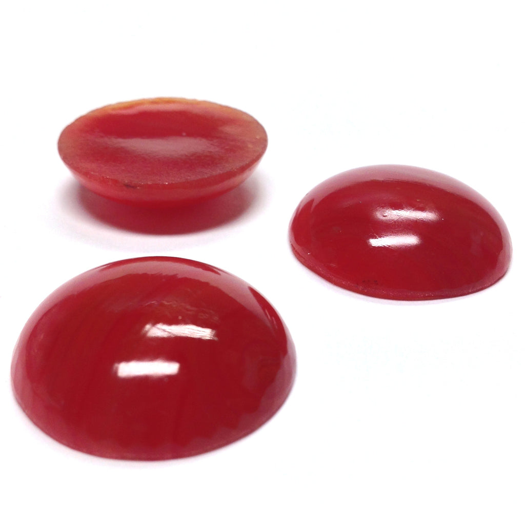 25MM Carnelian Glass Ear Button (12 pieces)