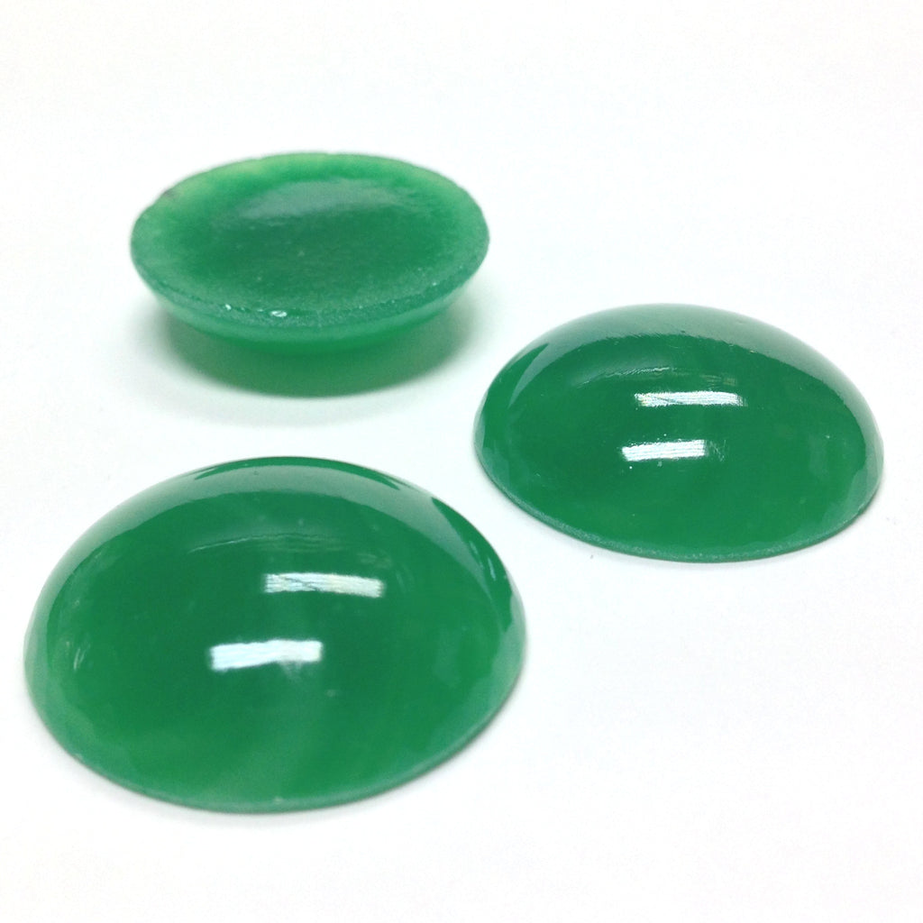 25MM Jade Green Glass Ear Button (12 pieces)