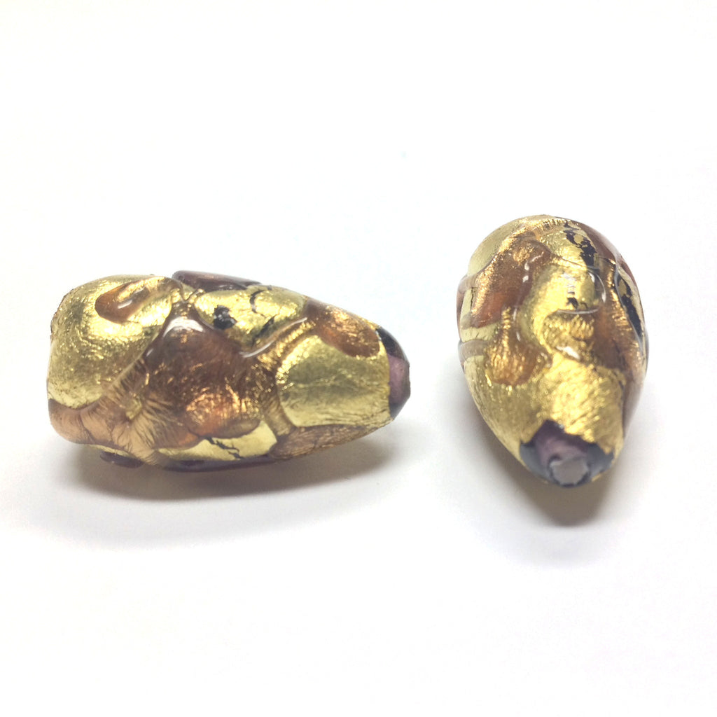 14X24MM Amethyst/Gold Foil Pear Bead (1 pieces)
