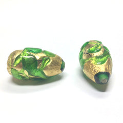 14X24MM Emerald/Gold Foil Pear Bead (1 pieces)