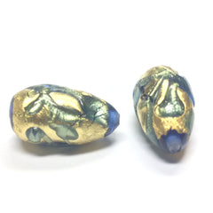 14X24MM Sapphire/Gold Foil Pear Bead (1 pieces)