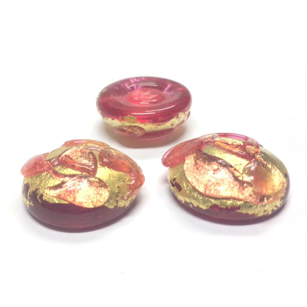 20MM Ruby/Gold Foiled Cab (1 pieces)