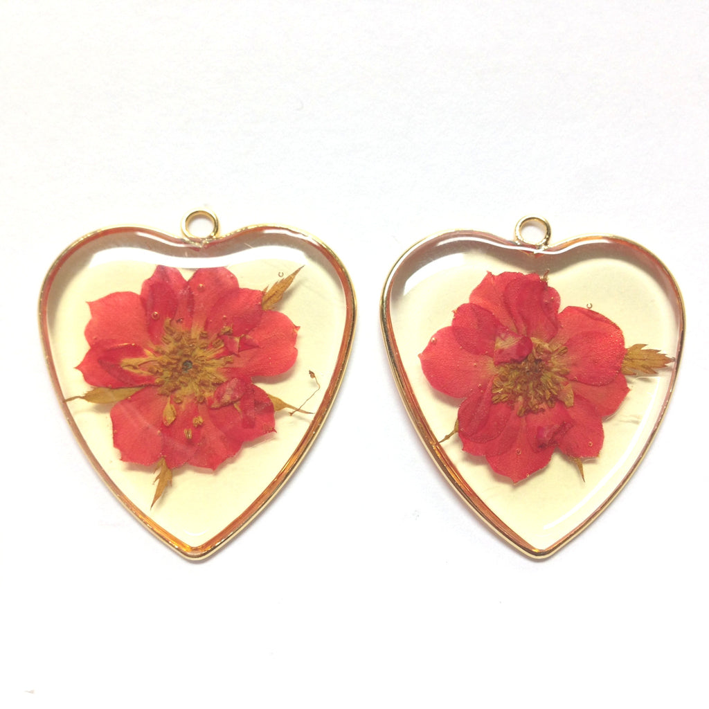Red Resin Flower Heart Drop (2 pieces)