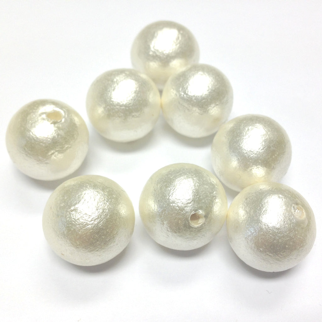 18MM Paper Mache White Cotton Pearl 1 Hole