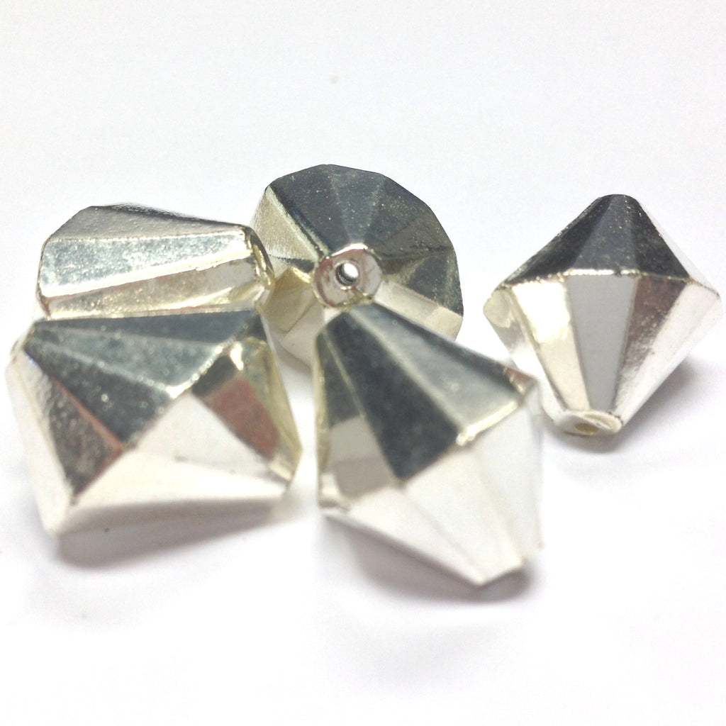 17MM Silver Faceted Pyramid Bead (24 pieces)