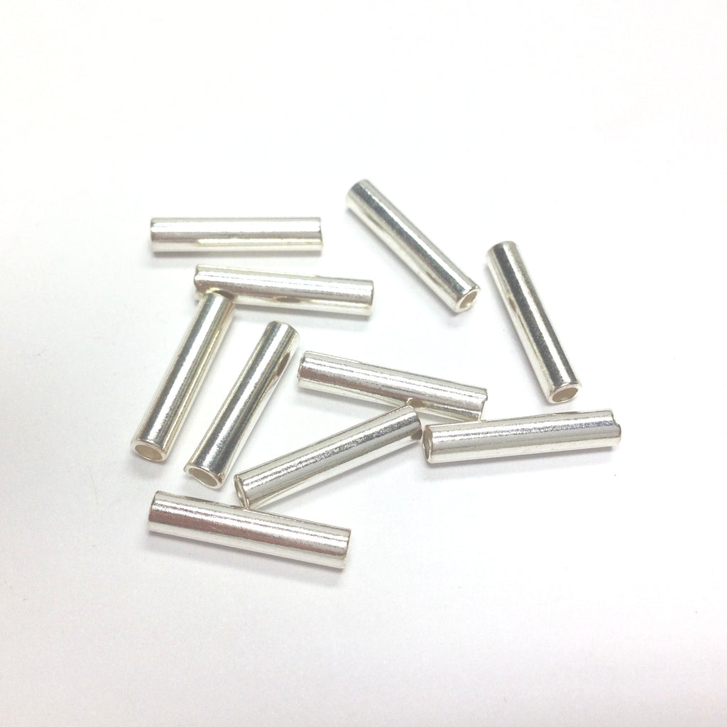 15X3MM Silver Tube Bead (144 pieces)