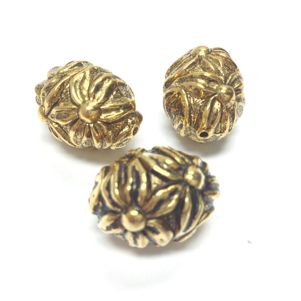 18X13MM Ant.Ham.Gold Flower Oval Bead (24 pieces)