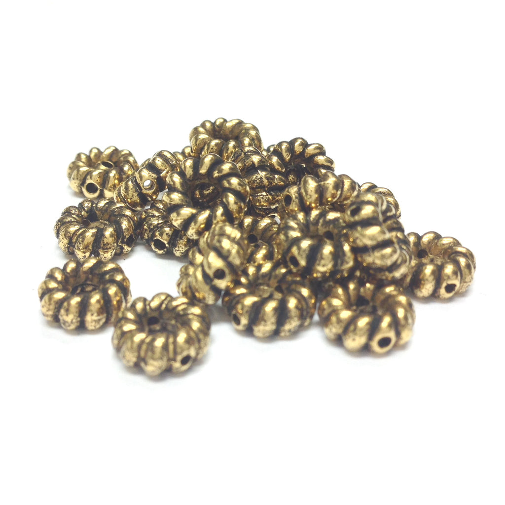 9MM Ant.Ham.Gold Fancy Ring Bead (144 pieces)