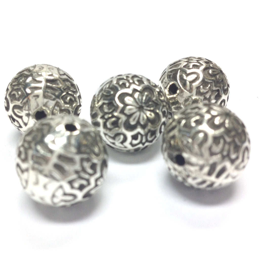 14MM Ant.Silver Fancy Round Bead (24 pieces)