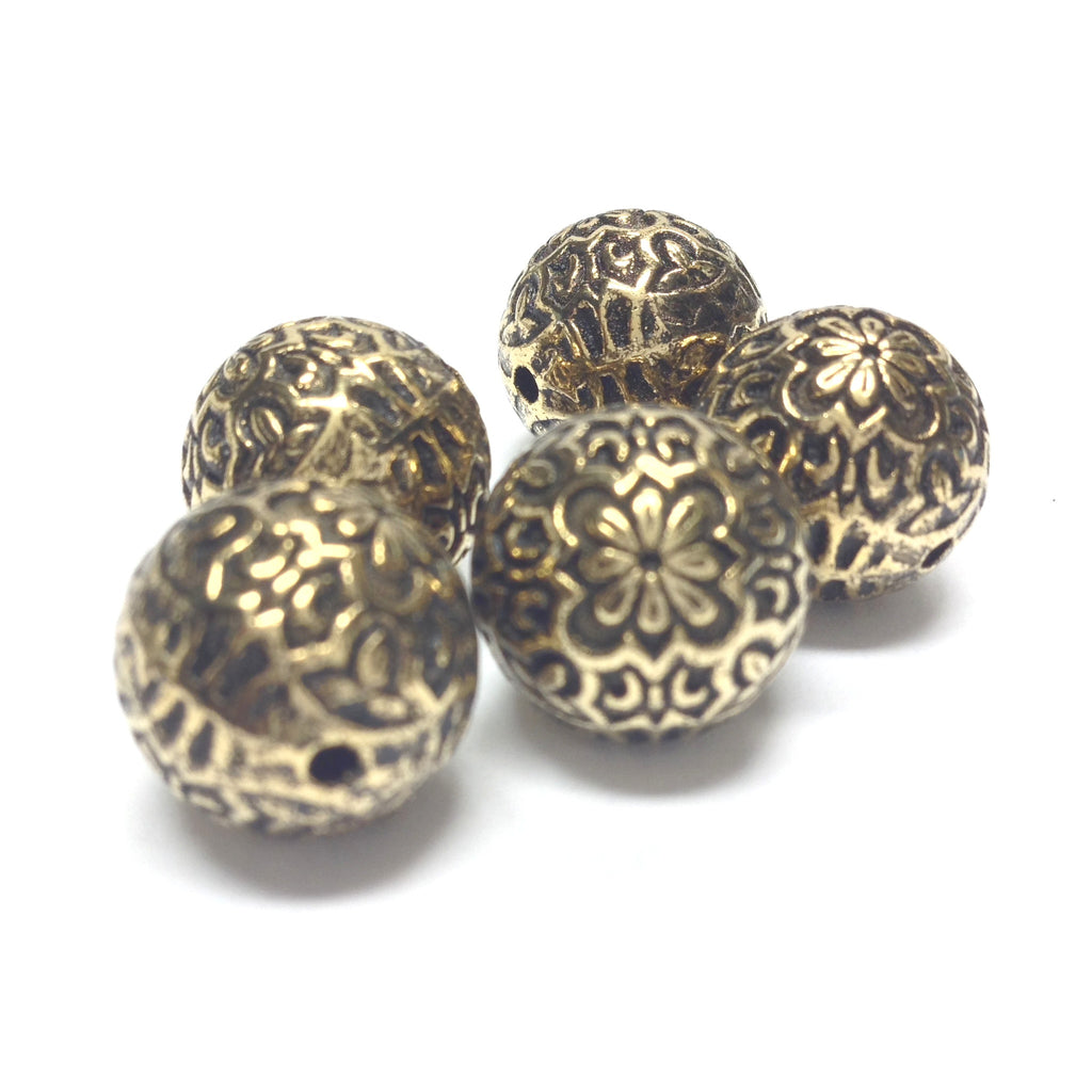 14MM Ant.Ham.Gold Fancy Round Bead (24 pieces)