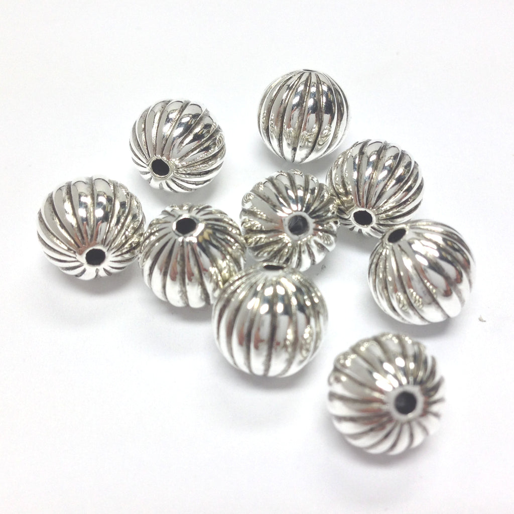 10MM Antique Silver Fluted Bead. (36 pieces)