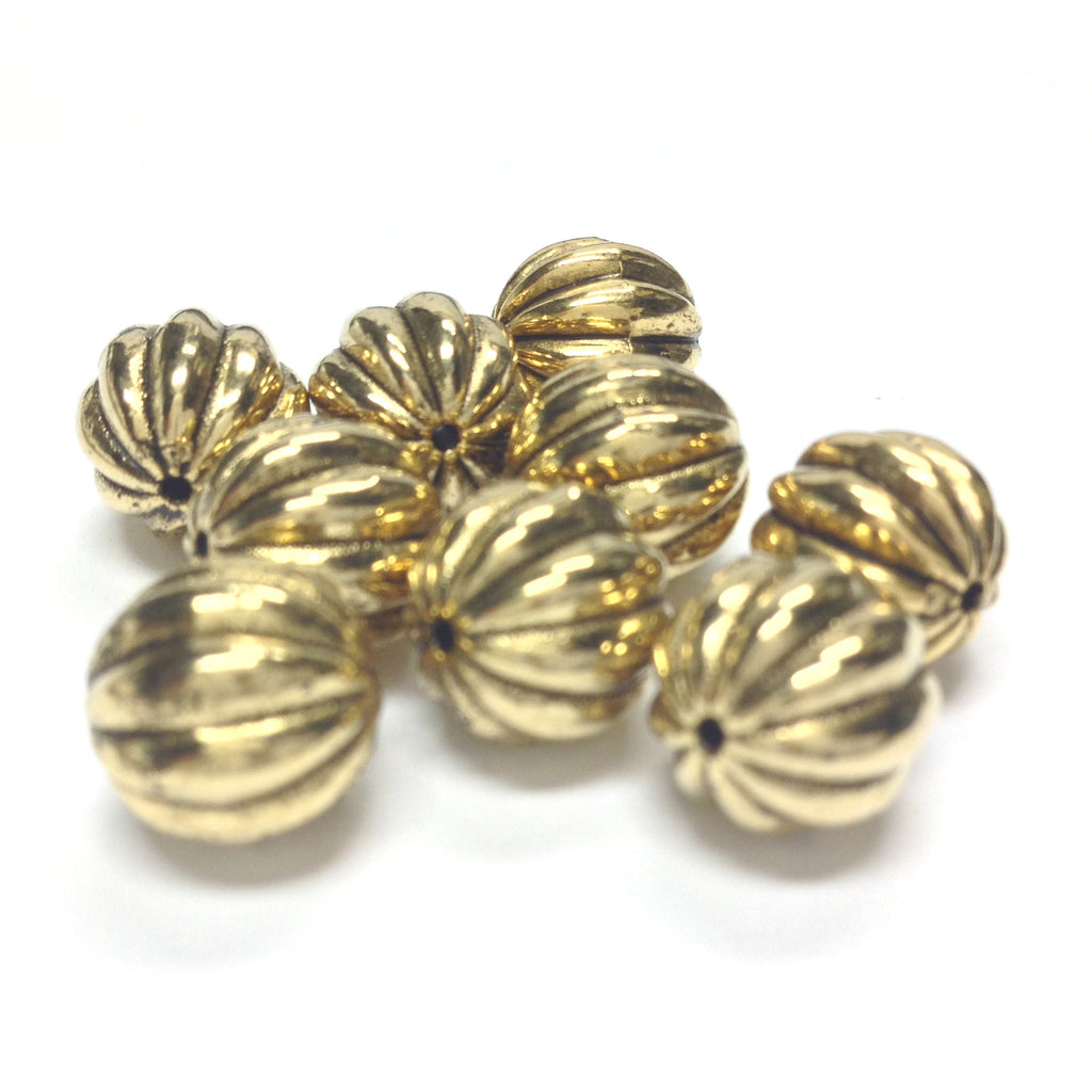 14MM Ant.Ham.Gold Fluted Bead (24 pieces)