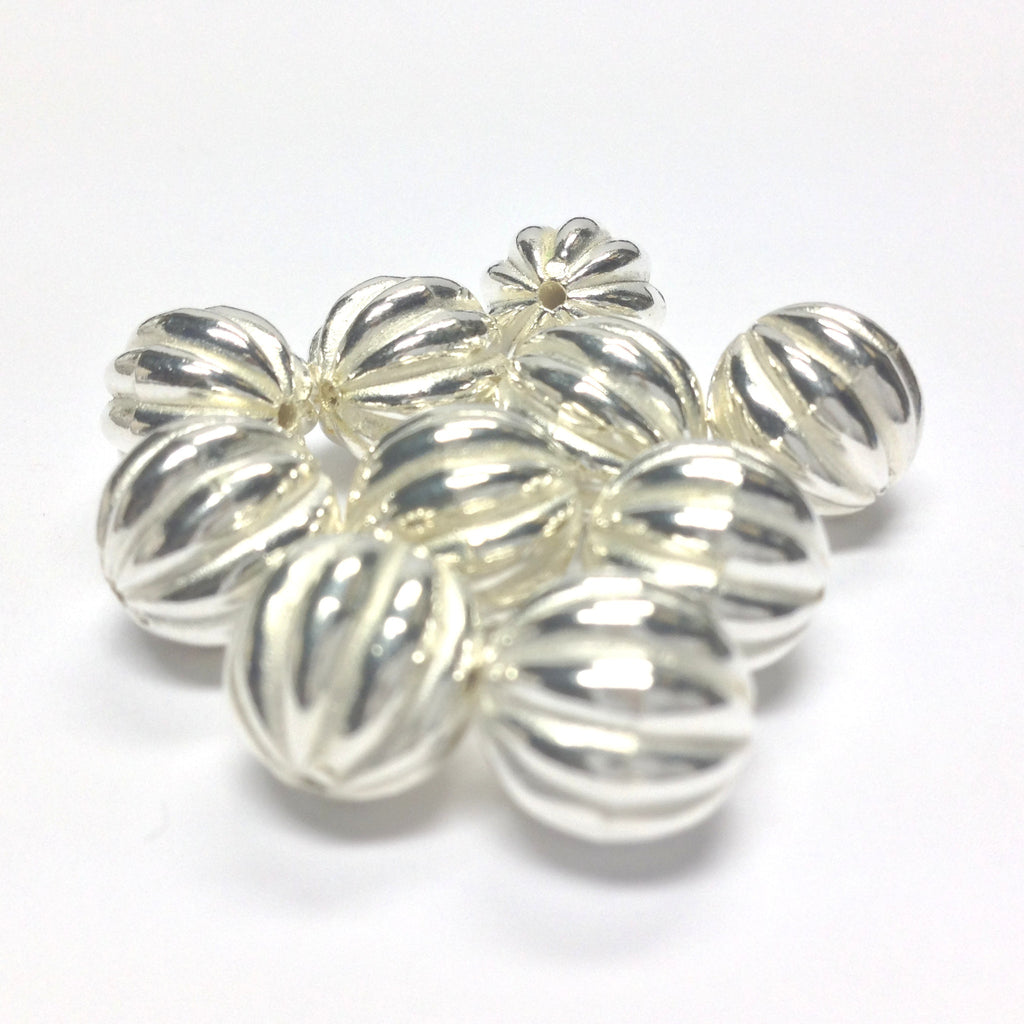 10MM Silver Fluted Round Bead (36 pieces)